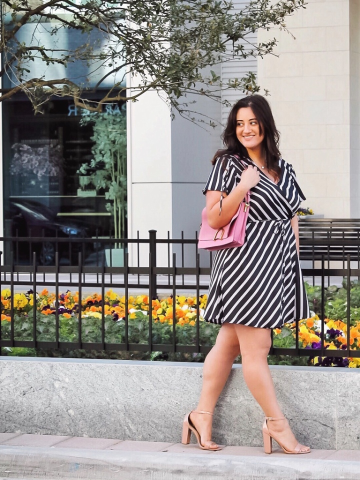 target style all in a day wrap dress, pink fossil purse and steve madden block heels