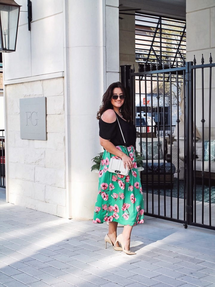 Target who what wear green foral skirt and cold shoulder black top with nude pumps and rebecca minkoff purse and celine sunnies.jpg